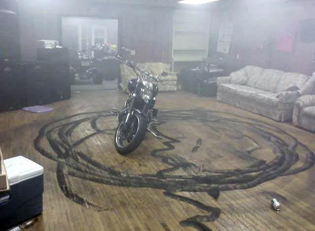 Motorcycle donuts inside the house